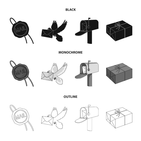 Wax seal, postal pigeon with envelope, mail box and parcel.Mail and postman set collection icons in black,monochrome,outline style vector symbol stock illustration web. Archivio Fotografico - 107220263