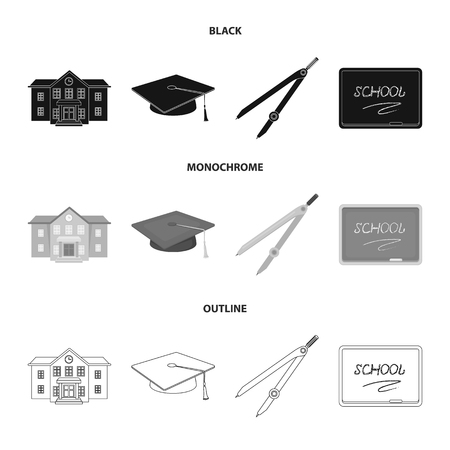 School building, college with windows, a master s or applicant s hat, compasses for a circle, a board with a chalk school inscription. School and education set collection icons in black,monochrome,outline style vector symbol stock illustration web. Illusztráció