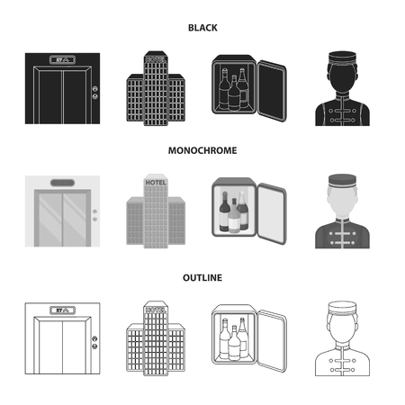 Elevator car, mini bar, staff, building.Hotel set collection icons in black,monochrome,outline style vector symbol stock illustration web.