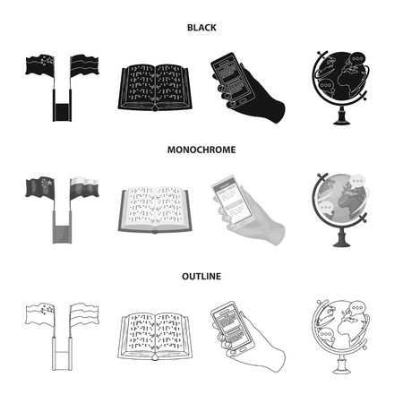 Two flags, a book for the blind, a hand with a phone with translated text, a globe of the Earth. Interpreter and translator set collection icons in black,monochrome,outline style vector symbol stock illustration .