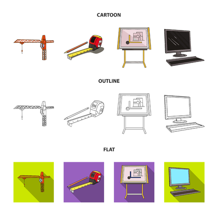 Construction crane, measuring tape measure, drawing board, computer. Architecture set collection icons in cartoon,outline,flat style vector symbol stock illustration web.