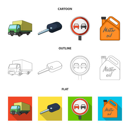 Truck with awning, ignition key, prohibitory sign, engine oil in canister, Vehicle set collection icons in cartoon,outline,flat style vector symbol stock illustration web.