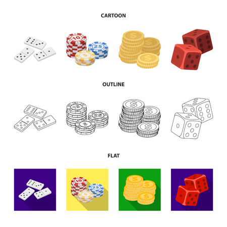 Domino bones, stack of chips, a pile of mont, playing blocks. Casino and gambling set collection icons in cartoon,outline,flat style vector symbol stock illustration web. Stock Illustratie