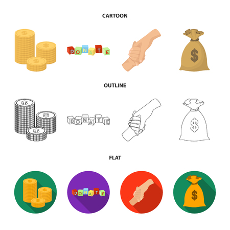 A pile of coins for donations, colored cubes with an inscription, a handshake, a bag of money for donations. Charity and donation set collection icons in cartoon,outline,flat style vector symbol stock illustration web. Illustration