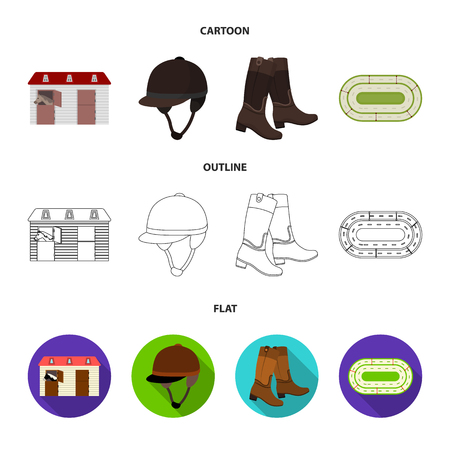 Boots, grass, stadium, track, rest .Hippodrome and horse set collection icons in cartoon,outline,flat style vector symbol stock illustration web.