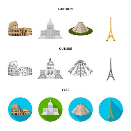 Sehenswürdigkeiten verschiedener Länder Cartoon, Umriss, flache Symbole in der Set-Sammlung für Design. Berühmte Gebäudevektor-Symbolvorrat-Webillustration.