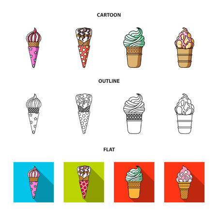 Ice cream on a stick, in a waffle cone and other species. Ice cream set collection icons in cartoon,outline,flat style vector symbol stock illustration web.