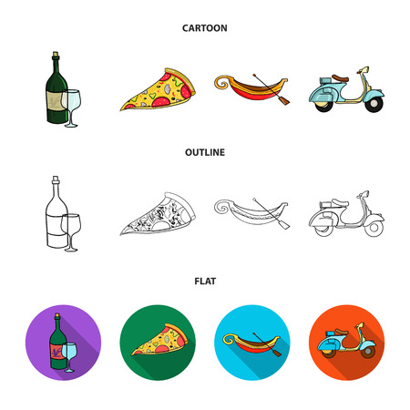 A bottle of wine, a piece of pizza, a gundola, a scooter. Italy set collection icons in cartoon,outline,flat style vector symbol stock illustration web. Illustration