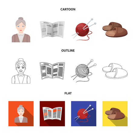 An elderly woman, slippers, a newspaper, knitting.Old age set collection icons in cartoon,outline,flat style vector symbol stock illustration web.