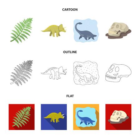 Sea dinosaur,triceratops, prehistoric plant, human skull. Dinosaur and prehistoric period set collection icons in cartoon,outline,flat style vector symbol stock illustration web. Illustration