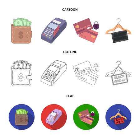 Purse, money, touch, hanger and other equipment. E commerce set collection icons in cartoon,outline,flat style vector symbol stock illustration web. Illustration