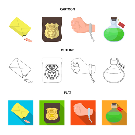 The detective s badge, the handcuff on the criminal s hand, the stump of the finger in the bag, the flask with the poison. Crime and detective set collection icons in cartoon,outline,flat style vector symbol stock illustration web.