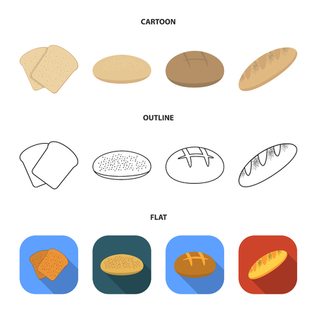 Toast, pizza stock, ruffed loaf, round rye.Bread set collection icons in cartoon,outline,flat style vector symbol stock illustration web.