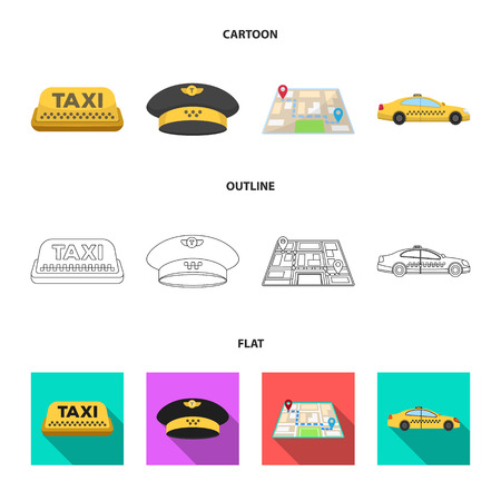 Yellow taxi inscription, a cap with a taxi badge, a map with a mark, a car with checkers. Taxi set collection icons in cartoon,outline,flat style vector symbol stock illustration web.