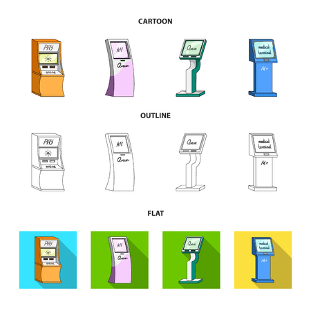 Medical terminal, ATM for payment,apparatus for queue. Terminals set collection icons in cartoon,outline,flat style isometric vector symbol stock illustration web .