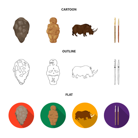 Primitive, woman, man, cattle .Stone age set collection icons in cartoon,outline,flat style vector symbol stock illustration web.