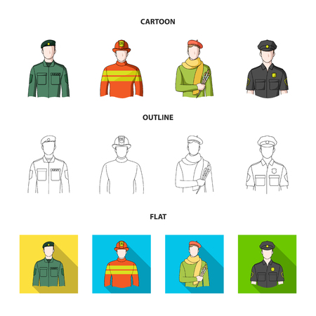 Military, fireman, artist, policeman.Profession set collection icons in cartoon,outline,flat style vector symbol stock illustration web. Illustration