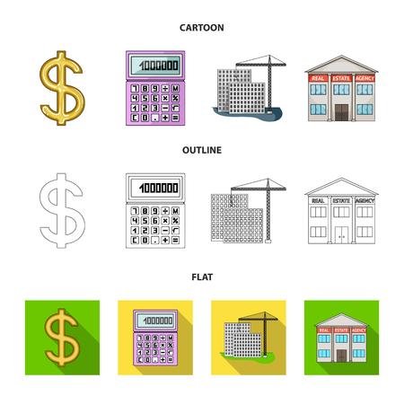 Rekenmachine, dollarteken, nieuw gebouw, vastgoedkantoren. collectie iconen in de tekenfilm, overzicht, vlakke stijl vector symbool stock illustratie web instellen.