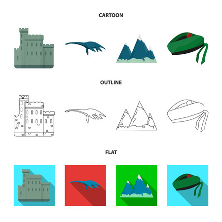 Edinburgh Castle, Loch Ness Monster, Grampian Mountains, national cap balmoral,tam o shanter. Scotland set collection icons in cartoon,outline,flat style vector symbol stock illustration web.