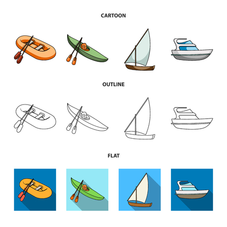 A rubber fishing boat, a kayak with oars, a fishing schooner, a motor yacht.Ships and water transport set collection icons in cartoon,outline,flat style vector symbol stock illustration web.