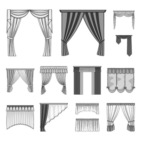 Different kinds of curtains monochrome icons in set collection for design. Curtains and lambrequins vector symbol stock web illustration. Ilustracja