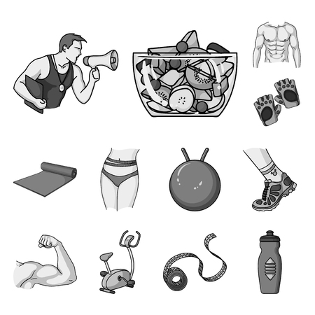 Fitness and attributes monochrome icons in set collection for design. Fitness equipment vector symbol stock web illustration.