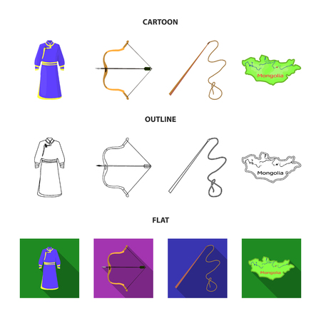 .mongol dressing gown, battle bow, theria on the map, Urga, Khlyst. Mongolia set collection icons in cartoon,outline,flat style vector symbol stock illustration web.