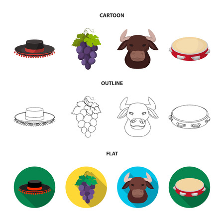 The hat of the todeador, the matador, a bunch of grapes with fists, a bull for the Spanish bullfight, a tambourine. Spain country set collection icons in cartoon,outline,flat style vector symbol stock illustration web.