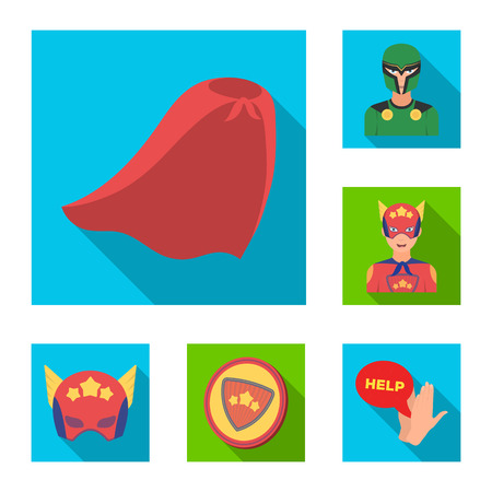 A fantastic superhero flat icons in set collection for design. Superheros equipment bitmap symbol stock web illustration.