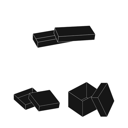 Different boxes black icons in set collection for design.Packing box bitmap symbol stock web illustration.