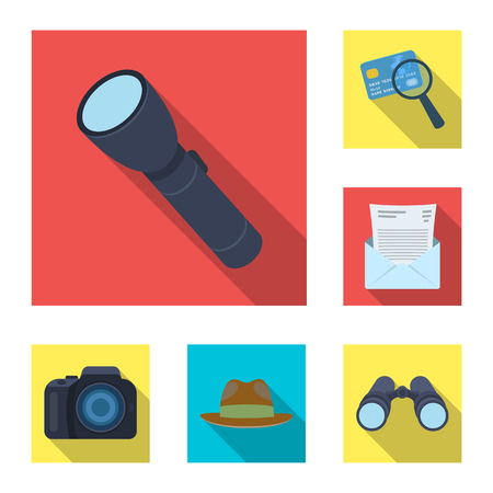 Detective and Attributes flat icons in set collection for design.Detective Agency bitmap symbol stock web illustration. Stock Photo