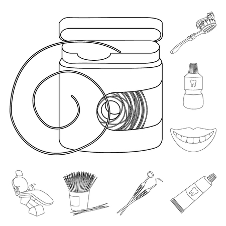Dental care outline icons in set collection for design. Care of teeth bitmap symbol stock web illustration.