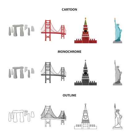 Sights of different countries cartoon,outline,monochrome icons in set collection for design. Famous building bitmap symbol stock web illustration.