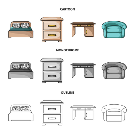 Interior, design, bed, bedroom .Furniture and home interiorset collection icons in cartoon,outline,monochrome style bitmap symbol stock illustration web.