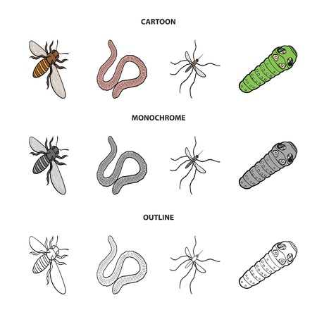 Arthropods insect mosquito, bee.Earth worm, caterpillar,vermicular set collection icons in cartoon,outline,monochrome style bitmap symbol stock isometric illustration web.