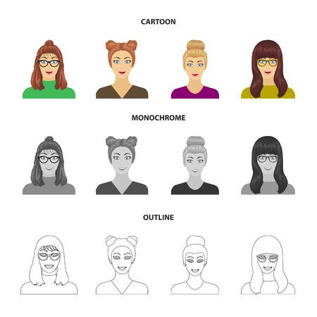Il volto di una ragazza con gli occhiali, una donna con una pettinatura. Il viso e l'aspetto hanno fissato le icone della raccolta nel web dell'illustrazione delle azione di simbolo di bitmap di stile monocromatico. Archivio Fotografico