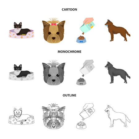 A dog in a lounger , a muzzle of a pet, a bowl with a feed, a sheepdog with a ball in his teeth. Pet ,dog care set collection icons in cartoon,outline,monochrome style bitmap symbol stock illustration web.