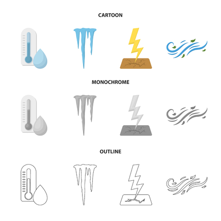 Humidity, icicles, thunderbolt, windy weather. Weather set collection icons in cartoon,outline,monochrome style bitmap symbol stock illustration web. 스톡 콘텐츠