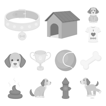 Pet dog monochrome icons in set collection for design. Caring for the puppy bitmap symbol stock web illustration. Stock Photo