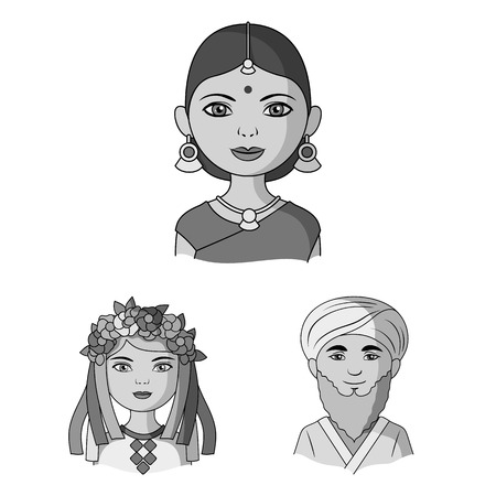 The human race monochrome icons in set collection for design. People and nationality vector symbol stock web illustration.