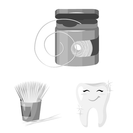 Dental care monochrome icons in set collection for design. Care of teeth vector symbol stock web illustration.