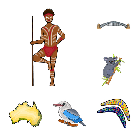 Country Australia cartoon icons in set collection for design.Travel and attractions vector symbol stock web illustration.