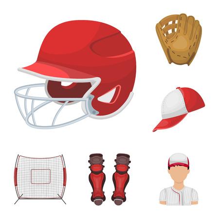 Icônes de dessin animé de baseball et attributs dans la collection de jeu pour la conception. Joueur de baseball et équipement vector illustration stock symbole web. Vecteurs