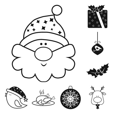 Christmas attributes and accessories black icons in set collection for design. Merry Christmas vector symbol stock web illustration.