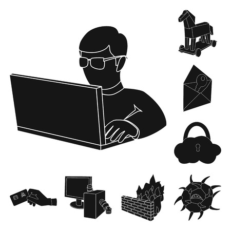 Hacker and hacking black icons in set collection for design. Hacker and equipment vector symbol stock web illustration. Иллюстрация