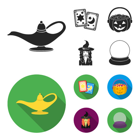 Tarot cards, holiday halloween, magician in a hat, crystal ball. Black and white magic set collection icons in black,flat style vector symbol stock illustration web.