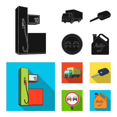 Truck with awning, ignition key, prohibitory sign, engine oil in canister, Vehicle set collection icons in black,flat style vector symbol stock illustration web.