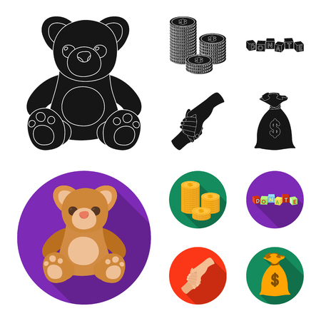 A pile of coins for donations, colored cubes with an inscription, a handshake, a bag of money for donations. Charity and donation set collection icons in black,flat style vector symbol stock illustration web. Illustration