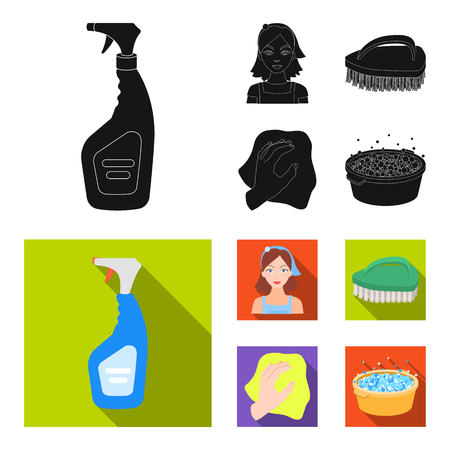 A cleaning woman, a housewife in an apron, a green brush, a hand with a rag, a blue wash hand basin with foam. Cleaning set collection icons in black,flat style vector symbol stock illustration web.