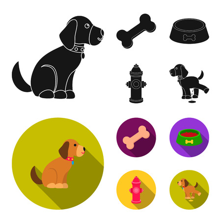 A bone, a fire hydrant, a bowl of food, a pissing dog.Dog set collection icons in black,flat style vector symbol stock illustration web.